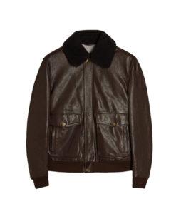 Men's Shearling Bomber Leather Jacket