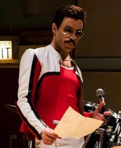 Rami Malek Bohemian Rhapsody Red and White Leather Jacket