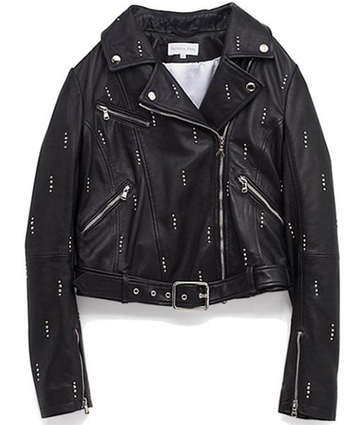 Dua Lipa Studded Black Leather Jacket